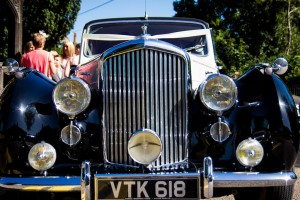 Front of a vintage Bentley wedding car photographed at St, Mary the Virgin Church, Bexley