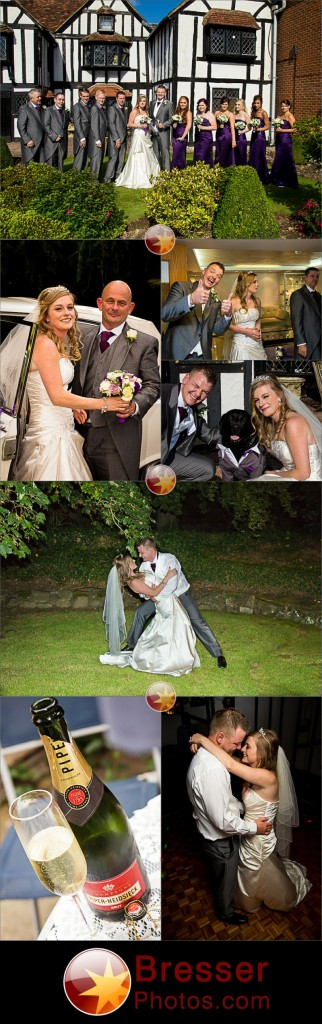Wedding in Sevenoaks, Kent showing group shot, bride with father, couple with dog in a tuxedo, bride and groom dancing and bottle of champagne