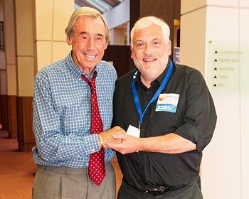 Soccer legend Gordon Banks with me at Ashford International Hotel during the Kent B2B exhibition