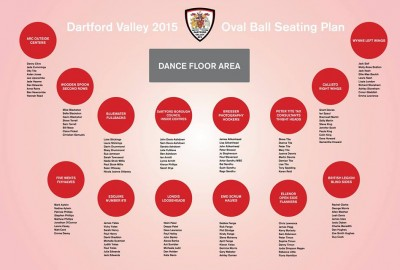 Table plan for Dartford Valley Rugby Football Club's Oval Ball - 2015
