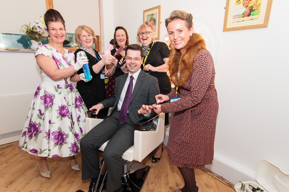 James Brokenshire MP enjoys a pamper session at the 1950s style hair salon in the Dementia unit at Sidcup Hospital's Holbrook Ward.